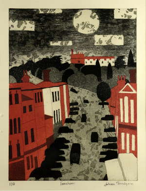 § Julian Trevelyan RA (British, 1910-1998), 'Farnham', Aquatint signed and numbered 1/50, 53cm x 40cm. Artist resale right up to a maximum of 4% of the hammer price maybe additionally payable on this lot if sold for a hammer price above the threshold