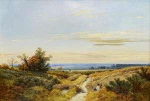 19th century oil on canvas English school heathland landscape, signature indistinct, 40cm x 59cm
