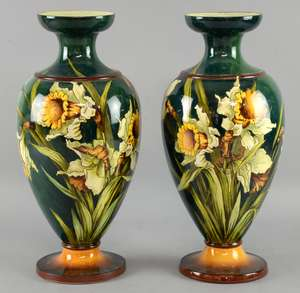 A pair of  early 20th C Doulton Lambeth Faience vases