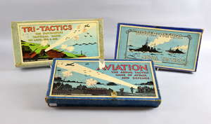 Three military related board games - 'Aviation, the aerial tactics game of attack and defence', 'The Dover Patrol' and 'Tri-tactics, the fascinating tactical game on land, sea and air'. (3)