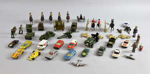 A collection of Britains and Dinky military models and sundry Matchbox die-cast vehicles. (qty)