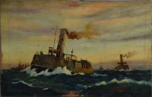 REVISED ESTIMATE J. H. Mearns - steam ships at sea, signed and dated 1921, oil on board, 19.5cm x 30cm