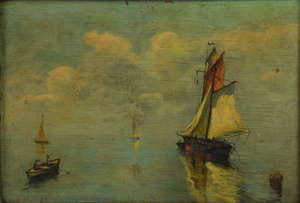 REVISED ESTIMATE Pair of day and night time scenes of ships at sea, indistinctly signed, oil on board, each 19.5cm x 29cm