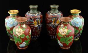 Pair of Chinese cloisonne vases decorated with Phoenixes and butterflies, 13cm high, and two smaller pairs decorated with flowers,