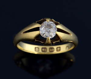 Victorian single stone diamond ring, the old cut stone estimated at 0.50 carat, set in 18 ct gold hallmarked for Birmingham 1882-3