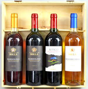 Bolla four bottles two red, one rose and one white, in presentation case