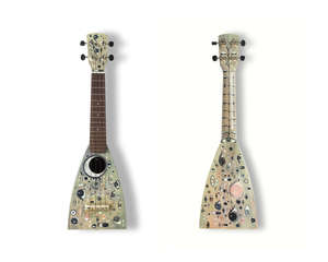 Cathie Pilkington RA (British, b.1968). 'Punctum'. Medium: Mixed Media, Felt tip, acrylic and oil paint. Ukulele: Boat Paddle Soprano.   Cathie Pilkington (Manchester, 1968) is a London-based sculptor and a figurative artist, renowned for crafting in