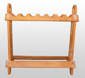 Light oak stick stand with the pierced end supports with Gothic revival decoration
