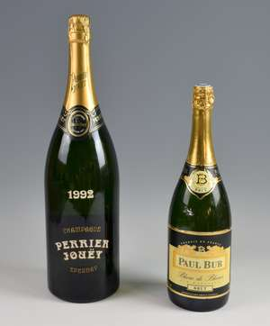 Two bottles of Champagne: 1992 Perrier Jouet Epernay Grand Brut Champagne, Jereboam. And a Paul Bur, Blanc de Blancs Brut  Champagne, magnum (2)