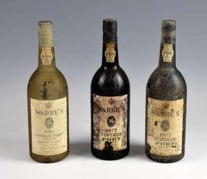 3 bottles of Warre's 1977 vintage port (3)