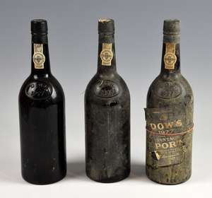 Three bottles of Dow's 1977 vintage Port, lacking labels (3)