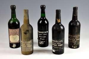5 bottles of Fonseca's Port: 1 bottle 1963 vintage, 3 bottles 1975 vintage, and one 1966 vintage with Wine Society label (5)