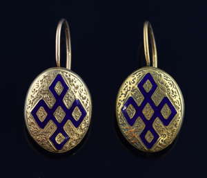 Pair of 19th C French gold and enamelled earrings, 18ct gold, boxed, 2 cm