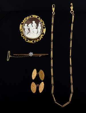 Group of antique jewellery, a Victorian cameo pendant carved with scene of infant  Bacchus, putti and a goat, in unmarked gold mount, a pair of cufflinks, bar brooch and an Albert chain