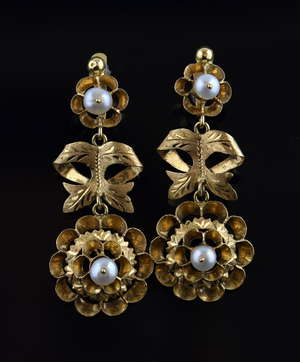 Pair of gold and pearl drop earrings, bow and cluster motif, tested as 18ct.  4 cm drop