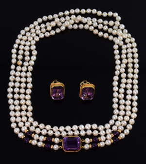 Amethyst and pearl pendant necklace, double strand of cultured pearls and amethyst beads to a step cut amethyst mounted in 9 ct gold, length 90 cm and matching amethyst earrings