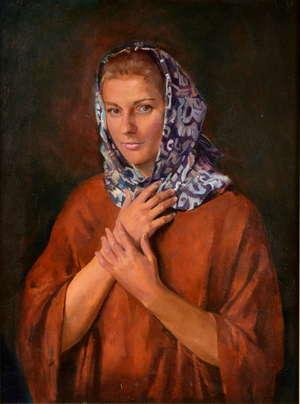 Julian Gordon Mitchell (1968-) Portrait of a woman in a headscarf, acrylic on canvas, signed verso, 61cm x 46cm