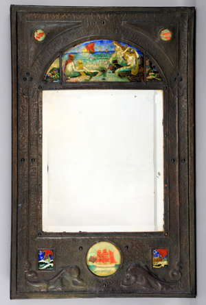 C H Powell, Watford School of Art, an Arts and Crafts wall mirror inset with enamel plaques, an arch top plaque depicting three sirens on a sea shore,  plaques with  galleons, and fish, hammered copper frame with trident and dolphins, signed,  78 x