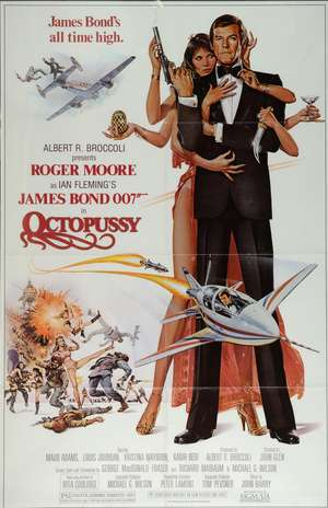 James Bond Octopussy (1983) US One Sheet film poster, starring Roger Moore, United Artists, framed, 27 x 41 inches