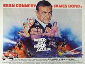 James Bond Never Say Never Again (1983) British Quad film poster, starring Sean Connery, artwork by Renato Casaro, Warner Bros., framed, 30 x 40 inches
