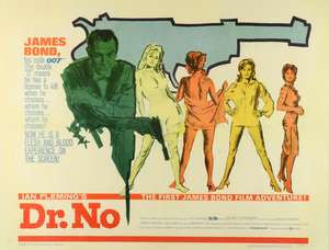 James Bond Dr. No (1962) US Half Sheet film poster, starring Sean Connery, framed, 22 x 28 inches