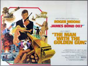 James Bond The Man With The Golden Gun (1974) British Quad film poster, starring Roger Moore & Christopher Lee, United Artists, framed, 30 x 40 inches