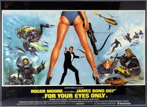 James Bond For Your Eyes Only (1981) British Quad film poster, starring Roger Moore, Design by Bill Gold, artwork by Brian Bysouth, United Artists, framed, 30 x 40 inches