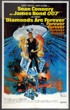 James Bond Diamonds Are Forever (1971) US One sheet film poster, starring Sean Connery, art by Robert McGinnis, United Artists, framed, 27 x 41 inches