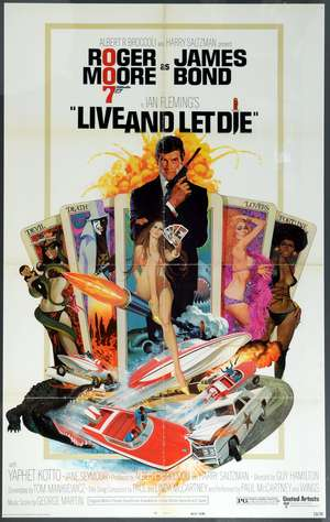 James Bond Live and Let Die (1973) US One sheet film poster, West Hemi, United Artists, framed, 27 x 41 inches