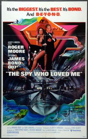 James Bond The Spy Who Loved Me (1977) One sheet film poster, starring Roger Moore, United Artists, framed, 27 x 41 inches