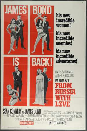 From Russia With Love (1963) US One Sheet film poster, Style B, starring Sean Connery, United Artists, framed, 27 x 41 inches