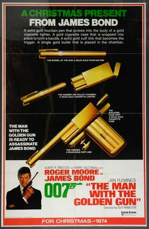 James Bond The Man With The Golden Gun (1974) US One sheet teaser film poster, starring Roger Moore, United Artists, framed, 27 x 41 inches
