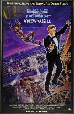 James Bond A View To A Kill (1985) Advance One Sheet film poster, starring Roger Moore, United Artists, framed, 27 x 41 inches