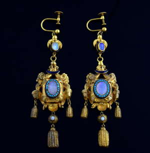 A pair of antique drop earrings set with opal and turquoise and enamelled detailing, 7.5 cm drop, tested as 22 ct