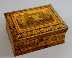 19th century Tunbridge ware, jewellery box, hinged top decorated with a castle, fitted interior, 9cm x 20cm  Provenance: part of single owner collection of Tunbridgeware locally consigned