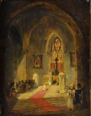 David Roberts, 19th Century oil on panel, interior of a church, gilt frame, 22 x 18cm.
