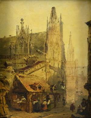 David Roberts, 19th Century, exterior of a church and town market, oil on panel,   22cm x18cm