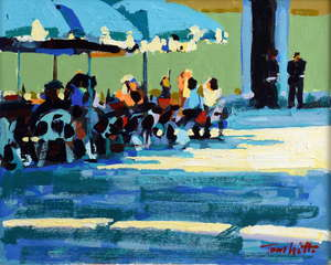 Tom Watt (1951) Venetian Cafe (3), acrylic on board, signed, 29.5cm x 35.5cm