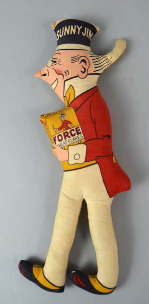 Early 20th century felt advertising toy. ;Sunny Jim Force Wheat Flakes' 40cm