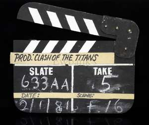 Clash of the Titans - Production used wooden clapperboard with metal hinge from the 1981 heroic adventure fantasy film produced by Ray Harryhausen, details handwritten in chalk by Ray Harryhausen of the last animated shot in the film, Slate '633AA',