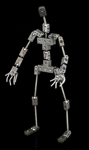 Ray Harryhausen - Human type armature made for Ray Harryhausen by an armature company (Animation Toolkit) around 2007/8, constructed of metal with moveable joints which was used by Ray Harryhausen and Tony Dalton in lectures, the armature stands 9 in