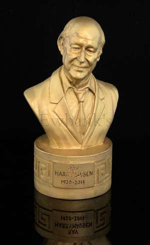 Ray Harryhausen - Commemorative moulded golden bust of Ray made by Gentle Giant Studios for the Memorial service at St Paul's in Covent Garden on the 12th of September 2013, with blue presentation bag, inscribed on front 'Ray Harryhausen 1920-2013',