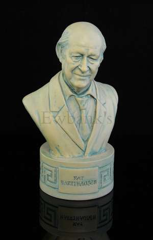Ray Harryhausen - Commemorative moulded bust of Ray made by Gentle Giant Studios with black presentation bag, inscribed on front 'Ray Harryhausen', on underside 'Gentle Giant Studios', 5 inch high. Provenance - Given to Tony Dalton by Ray Harryhausen