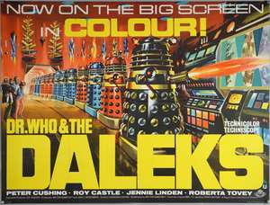 Dr. Who & The Daleks (1965) British Quad film poster, starring Peter Cushing, Regal Films, folded, 30 x 40 inches