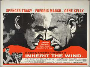 Inherit The Wind (1960) British Quad film poster, starring Spencer Tracey, Fredric March and Gene Kelly, produced and directed by Stanley Kramer, folded, 30 x 40 inches