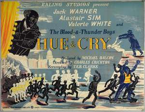 Hue & Cry (1946) British Quad film poster, Ealing Studios, produced by Michael Balcon and starring Jack Warner, Alastair Sim, artwork by Edward Bawden, GFD, folded, 30 x 40 inches