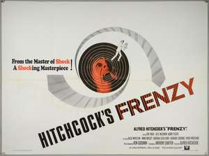Alfred Hitchcock's Frenzy (1972) British Quad film poster, Thriller set in London, Universal, folded, 30 x 40 inches