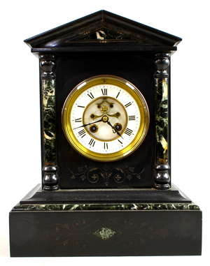 Late 19th century black slate and green marble twin train mantel clock 36cm x 28cm