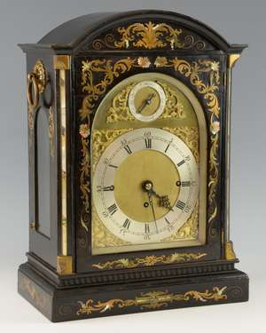 Early 19th century English three train Bracket clock, ebonised with brass and mother of pearl inlay, by Milton & Sons, Dublin, engraved back plate. 50cm high