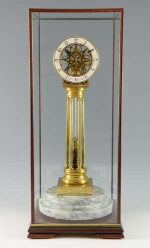 Early 20th century spring up fusee skeleton clock by William Smith Musselburgh, 54cm in later glass case